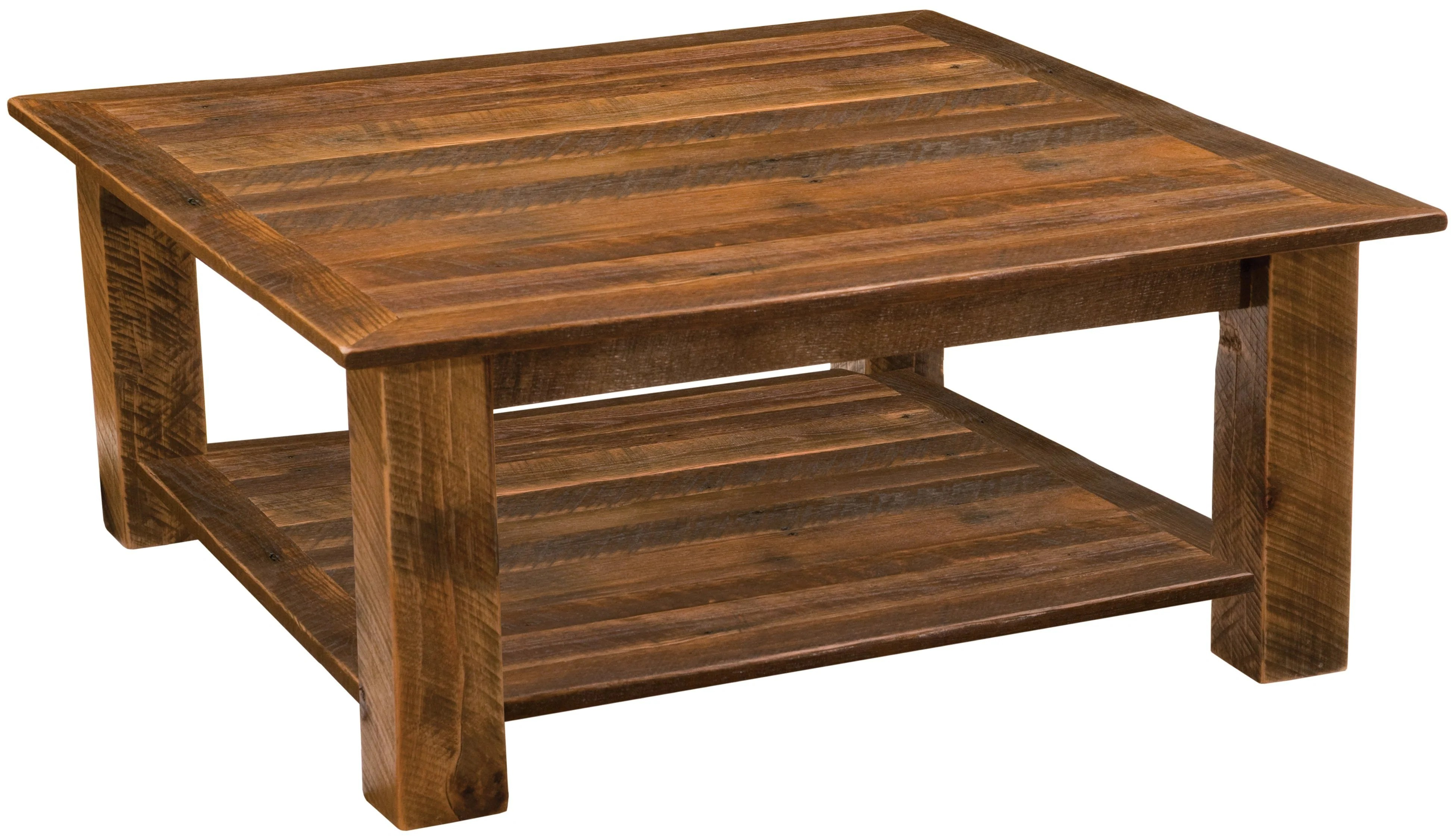 barnwood open square coffee table with shelf 34 x 34 and 42 x 42