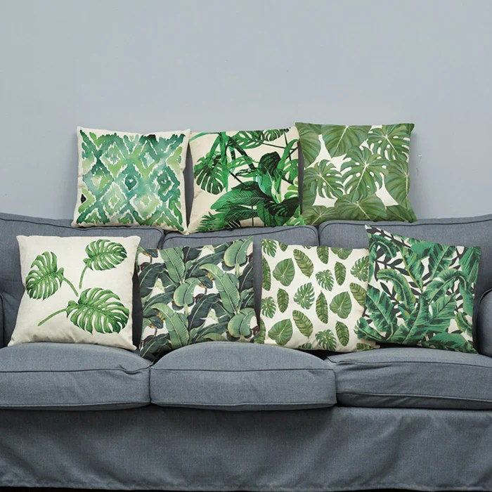 tropical linen green cushion covers 18 x 18 ideal replacement throw pillow cover for patio and home