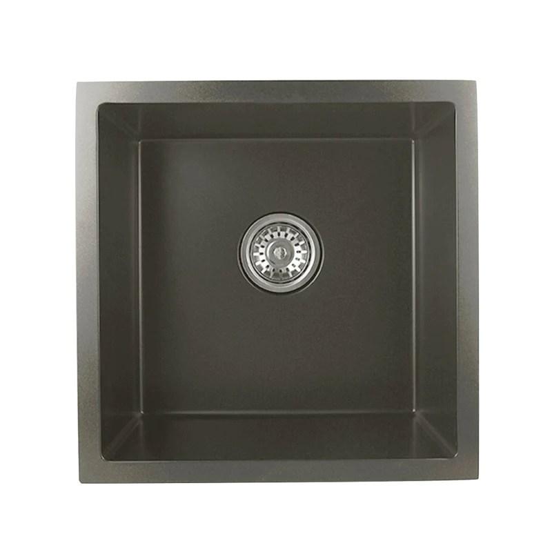 asker black stainless steel single bowl top undermount kitchen laundry sink