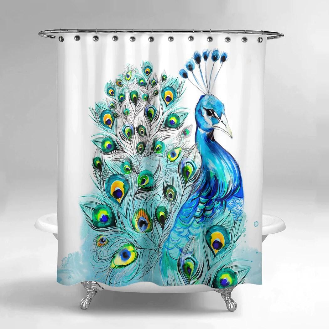 graceful peacock shower curtain