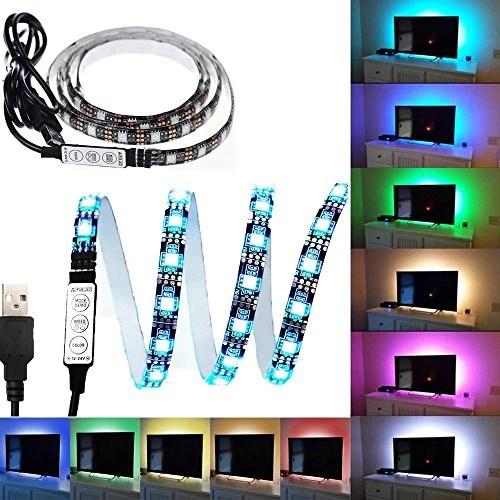 black pcb tv backlight kit computer case led light etopxizu 3 28ft multi colour 30leds flexible 5050 rgb usb led strip light with 5v usb cable and