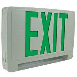 thermoplastic all led light bar combo exit sign with battery back up remote head capable green