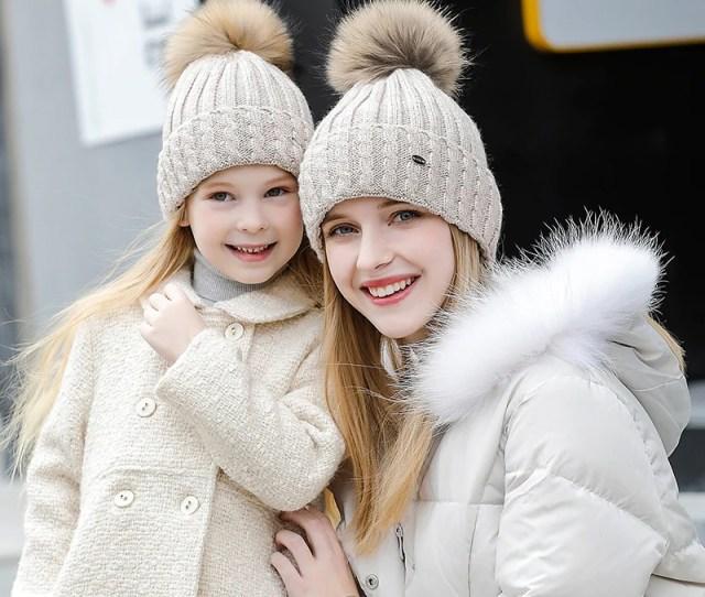 Mother And Child Wool Caps 2 Pieces Set Children Brand New Fashion 2018 Womens Cap Bonnet Skullies Mz701b