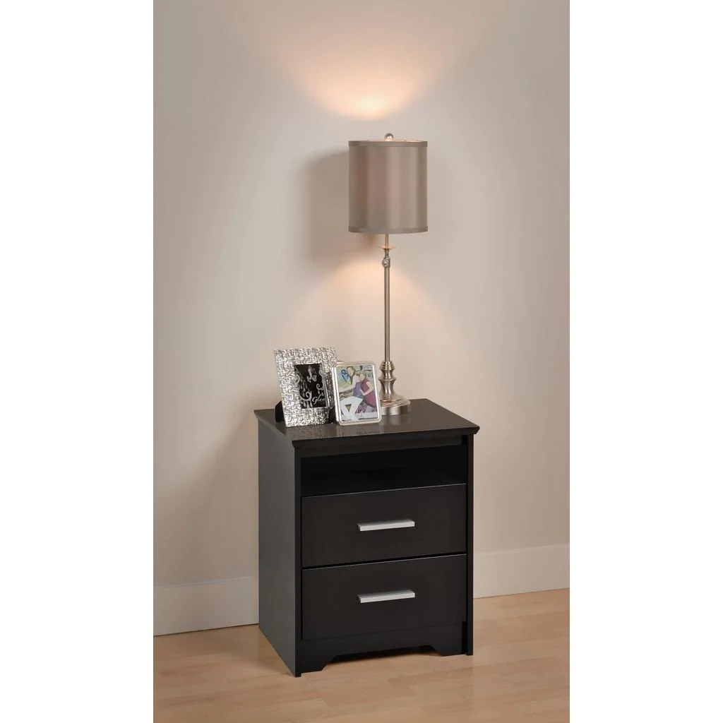 Prepac Coal Harbor Black 21 Inch Tall 2 Drawer Nightstand W Open Shelf