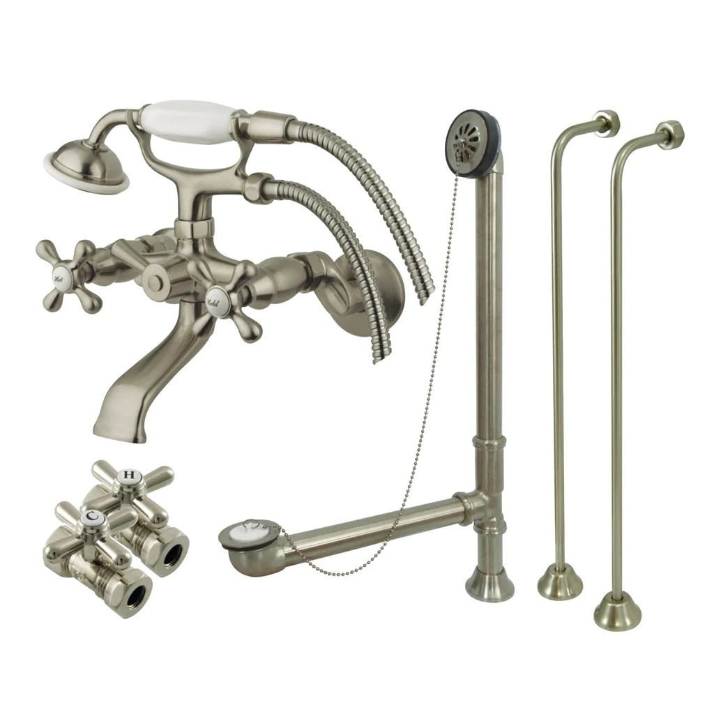 vintage two handle 2 hole tub wall mount clawfoot tub faucet package with supply line and hand shower
