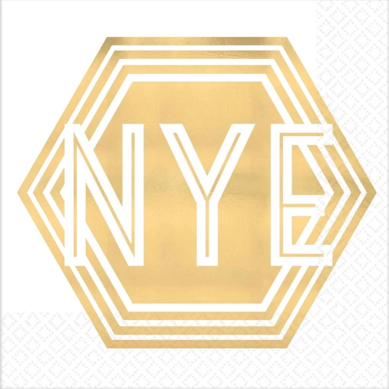 New Year's Eve Shaped Beverage Napkins Foil Hot Stamped ...