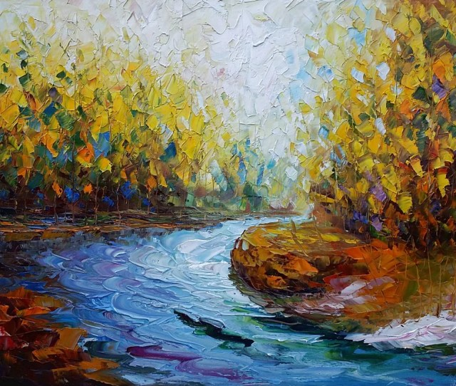 Landscape Art Autumn River Abstract Painting Oil Painting Modern Art Canvas