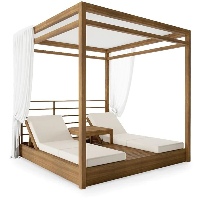 savannah teak twin outdoor daybed canopy set