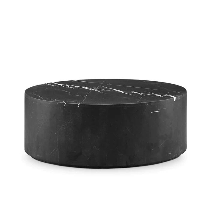 black marble drum coffee table oval