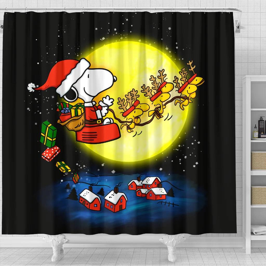 christmas snoopy dog shower curtain