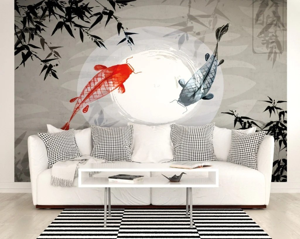 Koi Carp Wall Mural Japanese Fish in Moonlit Water WALS0234