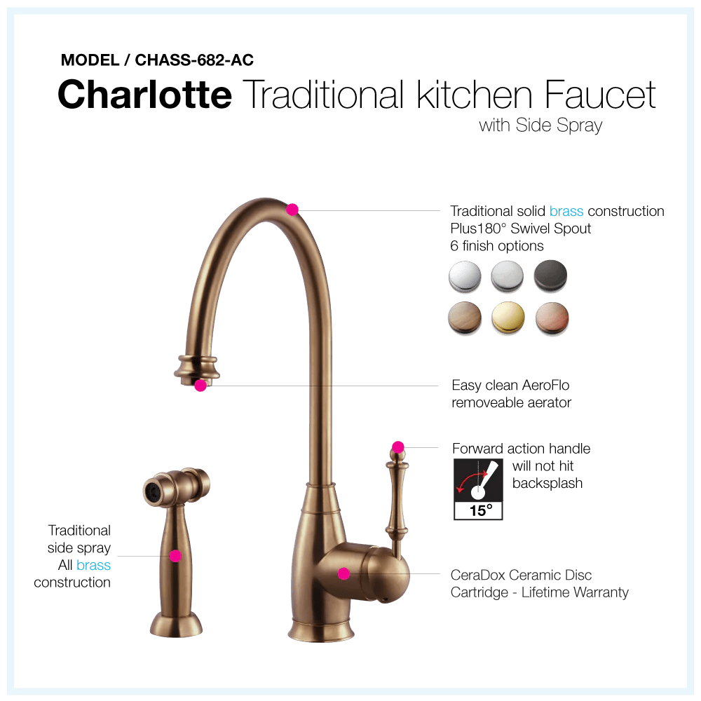 houzer charlotte solid brass kitchen faucet with sidespray antique copper chass 682 ac
