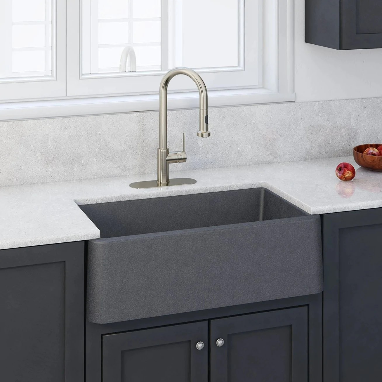 latoscana 33 farmhouse sink composite granite titanium grey metallic marmorin series la3319t