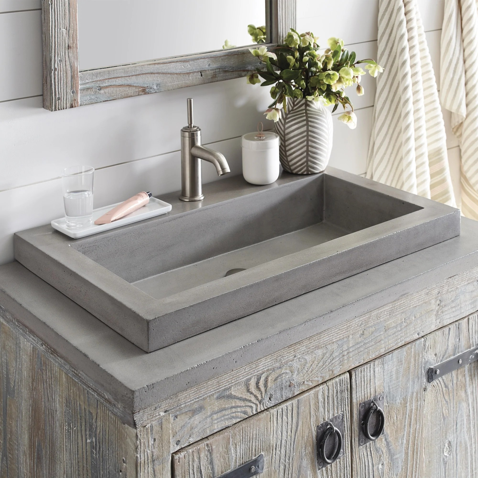 native trails trough 30 rectangle nativestone concrete bathroom sink ash nsl3019 ax