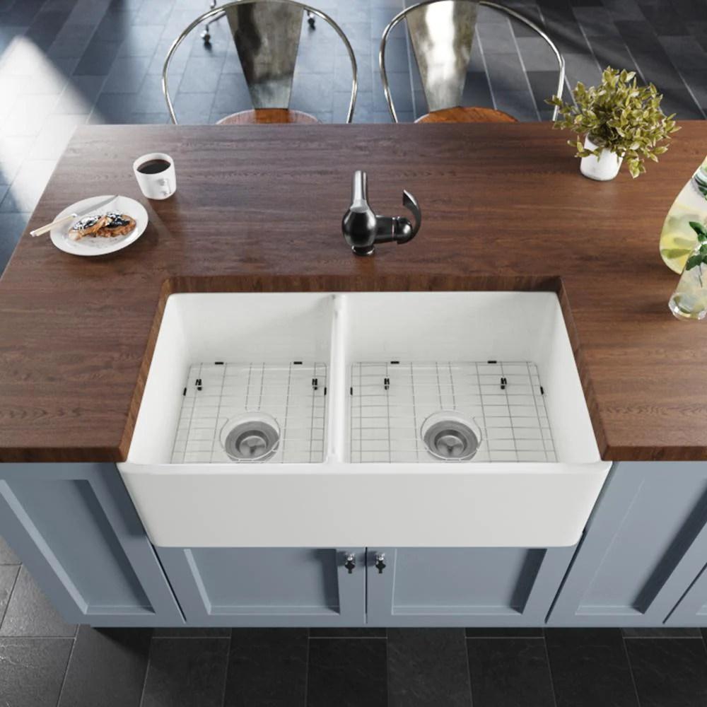 rene 33 fireclay farmhouse sink 60 40 double bowl white r10 3003 st b