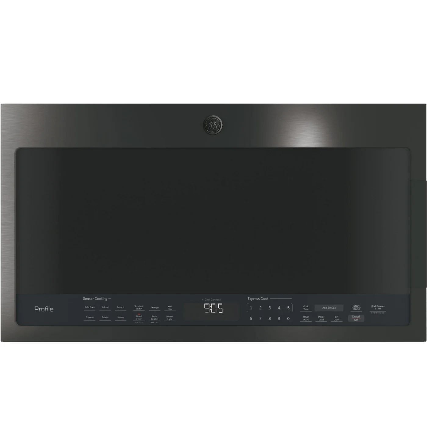 ge profile black stainless steel over the range microwave 2 1 cu ft pvm2188bmtsc