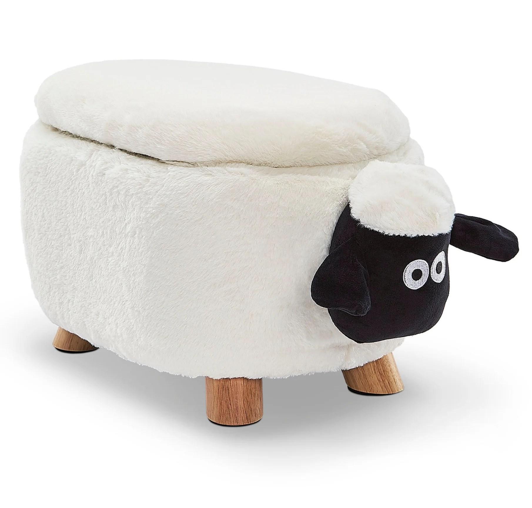 sheep storage ottoman white