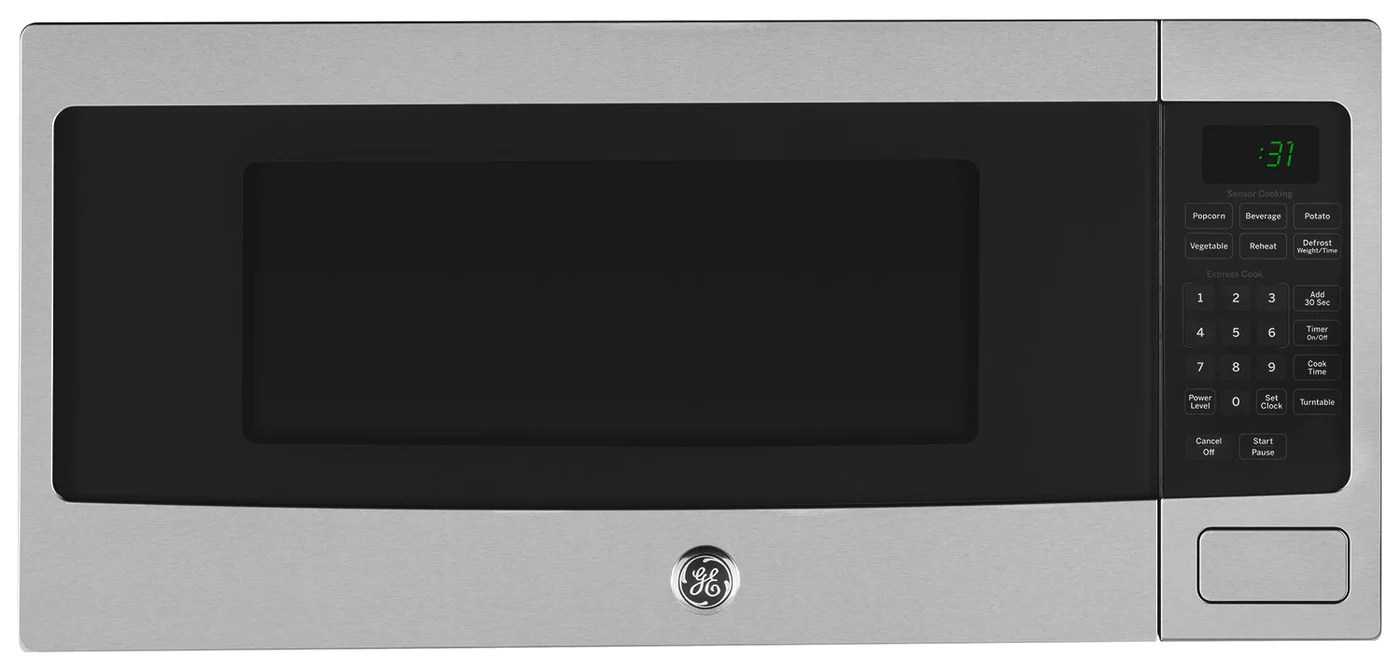 https www leons ca products ge profile stainless steel spacemaker countertop microwave 11 cu ft pem10sfc