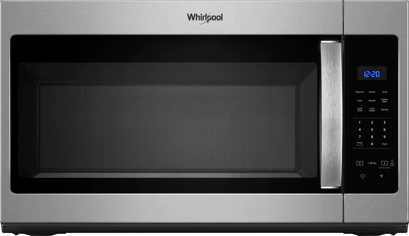whirlpool stainless steel over the range microwave 1 7 cu ft ywmh31017hz