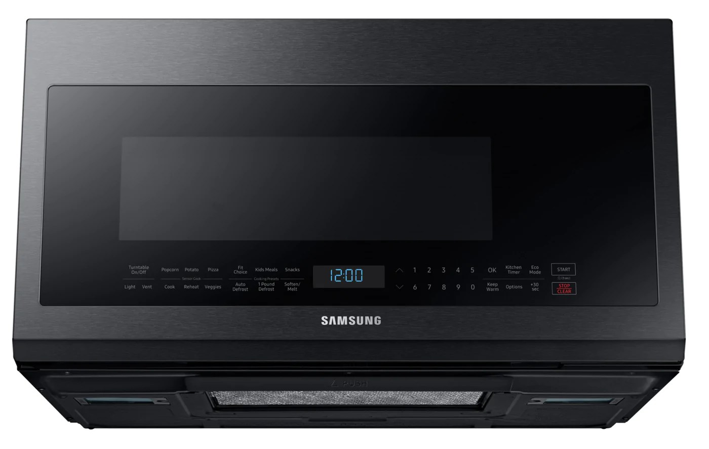 samsung black stainless steel over the range microwave 2 1 cu ft me21m706bag ac
