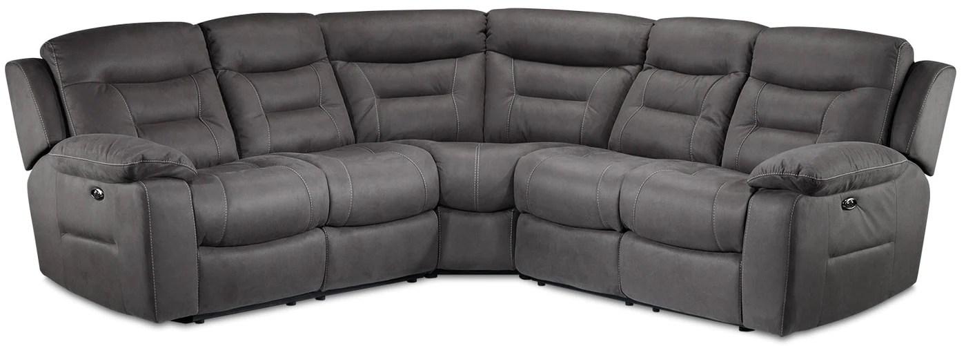 charlotte 3 piece power reclining sectional dark grey