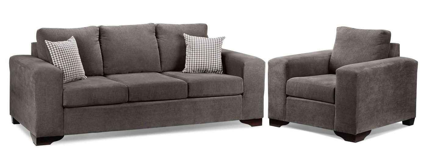 Fava 2 Pc Living Room Package W Chair Grey Leon S