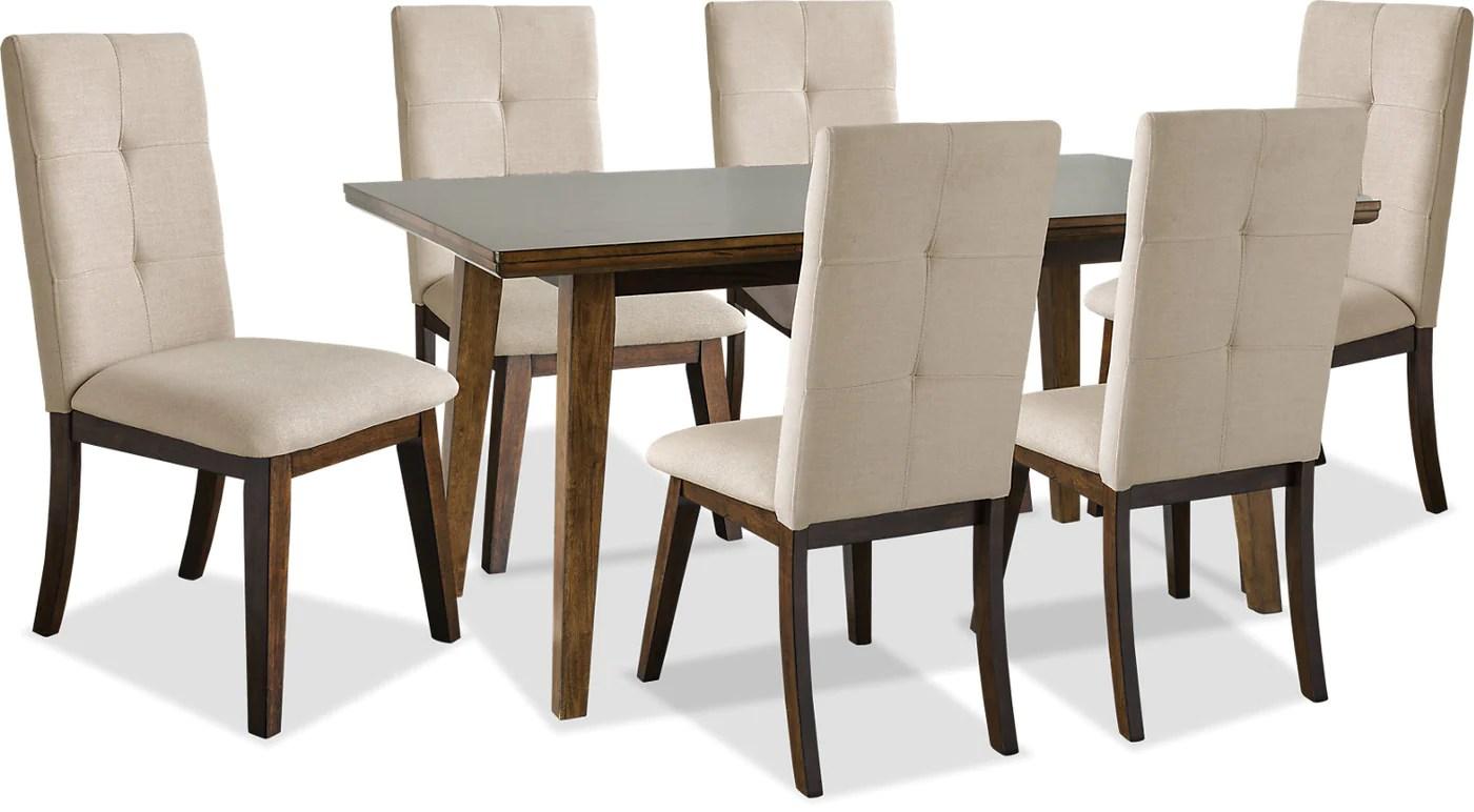 ensemble de salle a manger chelsea 7 pieces avec chaises beiges