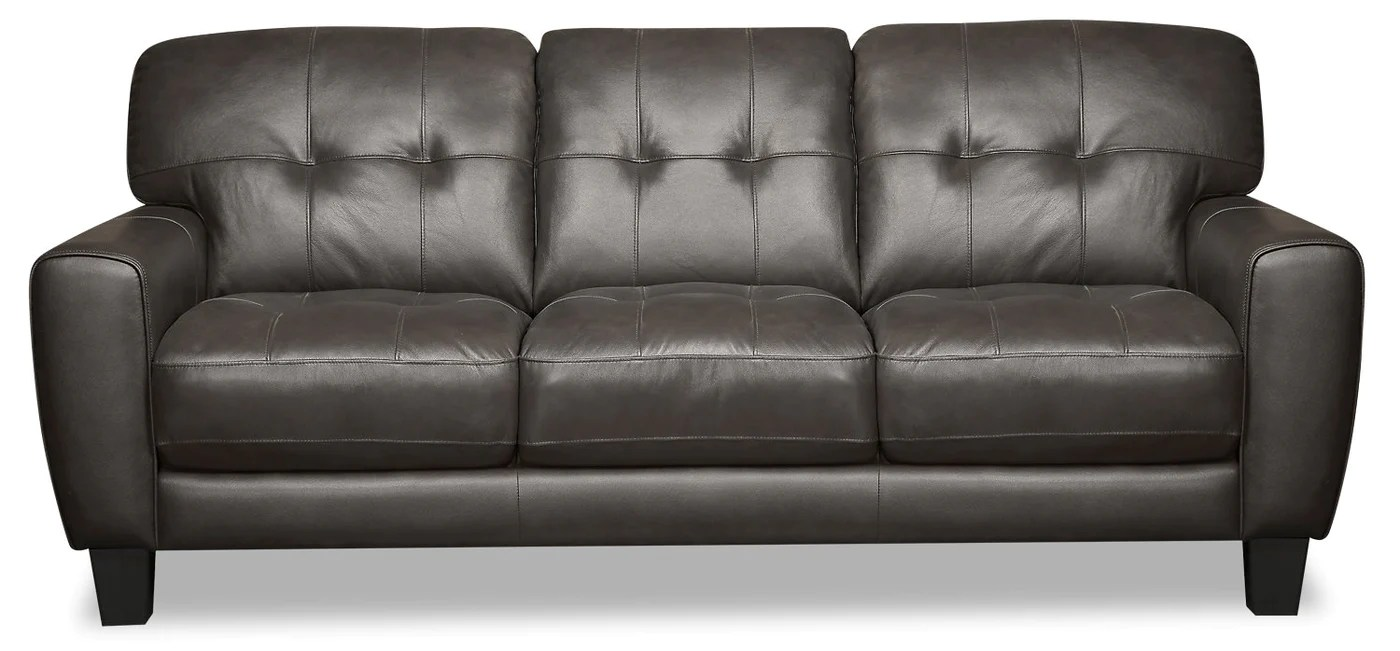 Curt Genuine Leather Sofa Grey The Brick