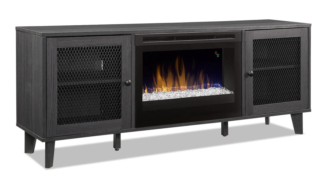 meuble pour televiseur dean de 65 po avec foyer a braises en verre
