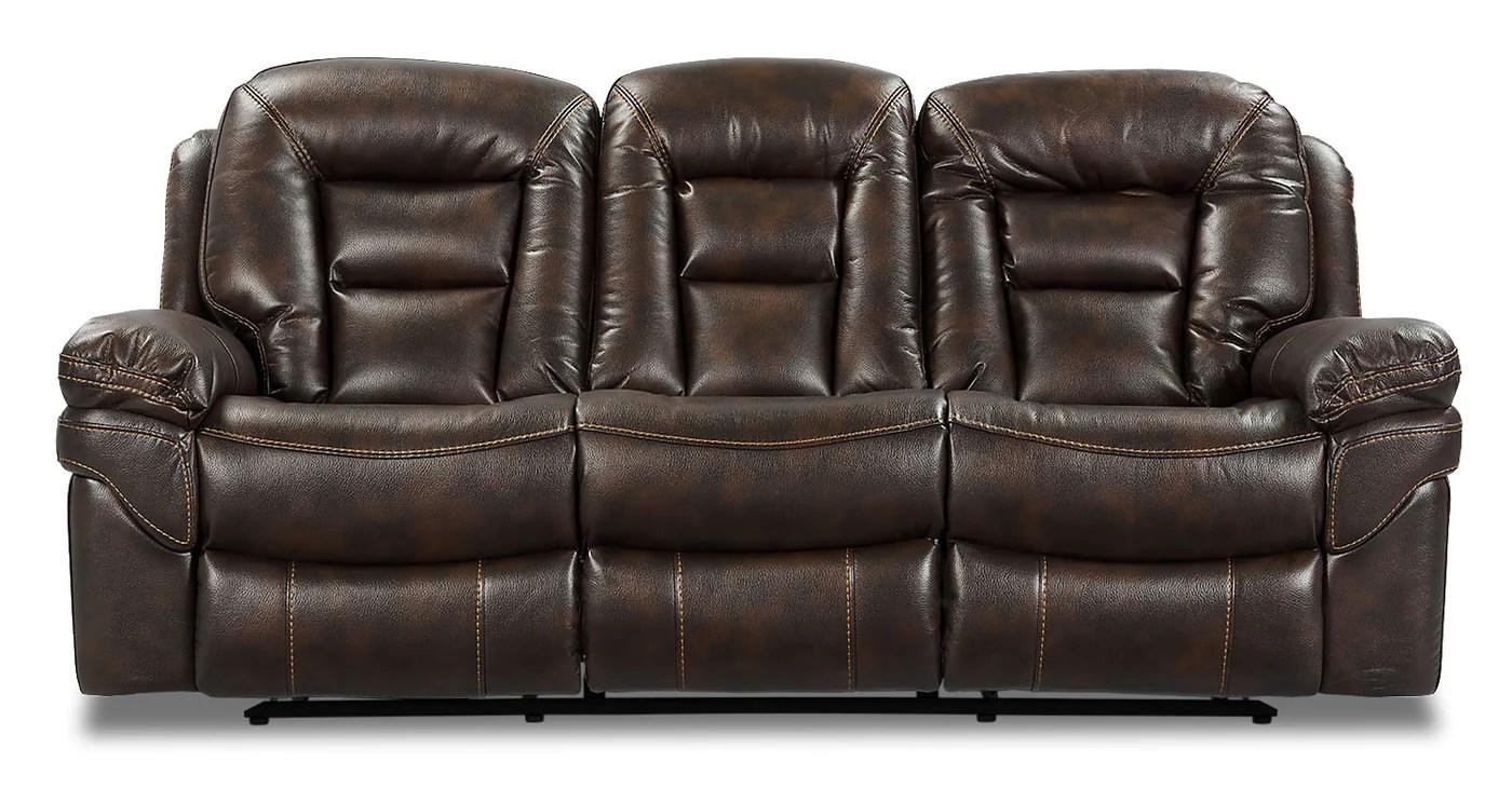Leo Leath Aire Fabric Dual Reclining Sofa Walnut The Brick
