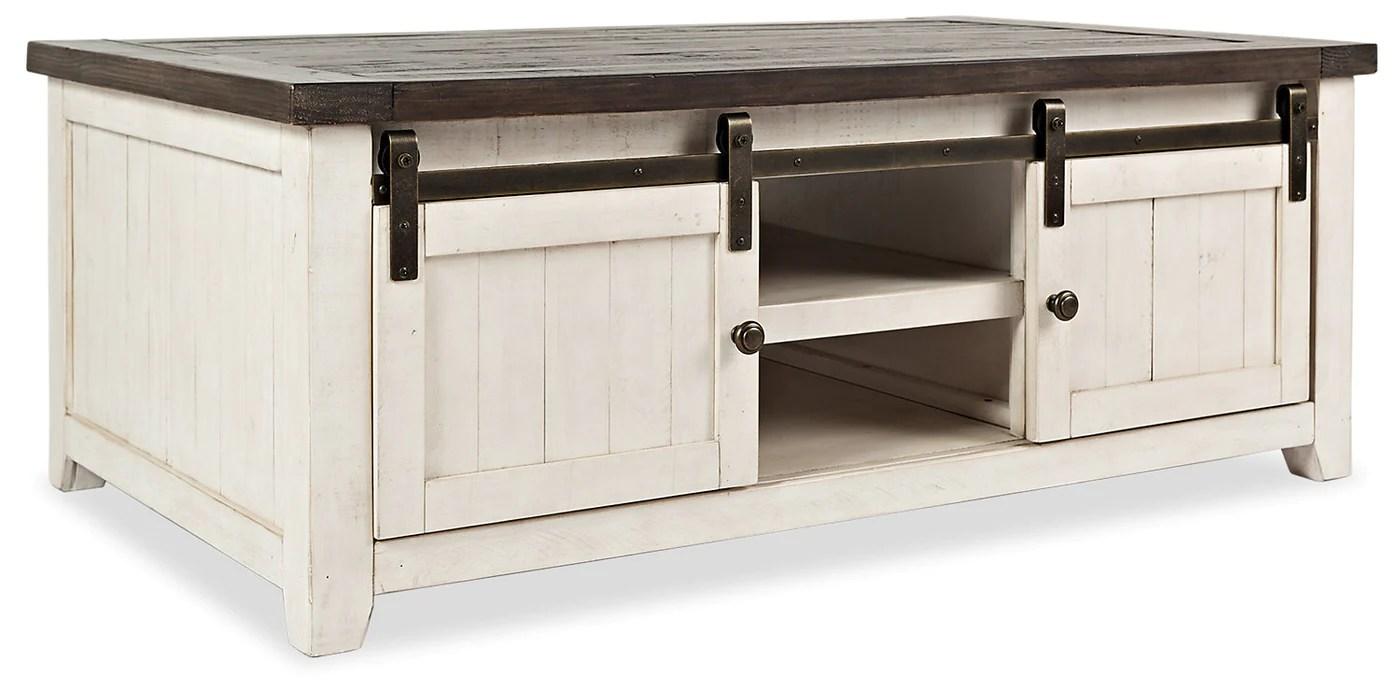 madison barn door coffee table white