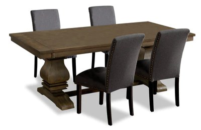 rhys 5 piece dining package grey