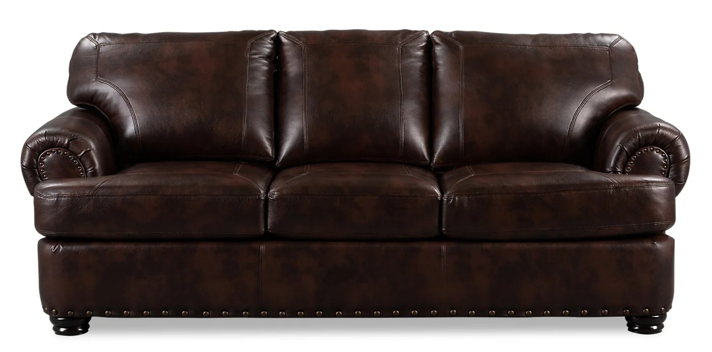 roma leather look fabric sofa brown