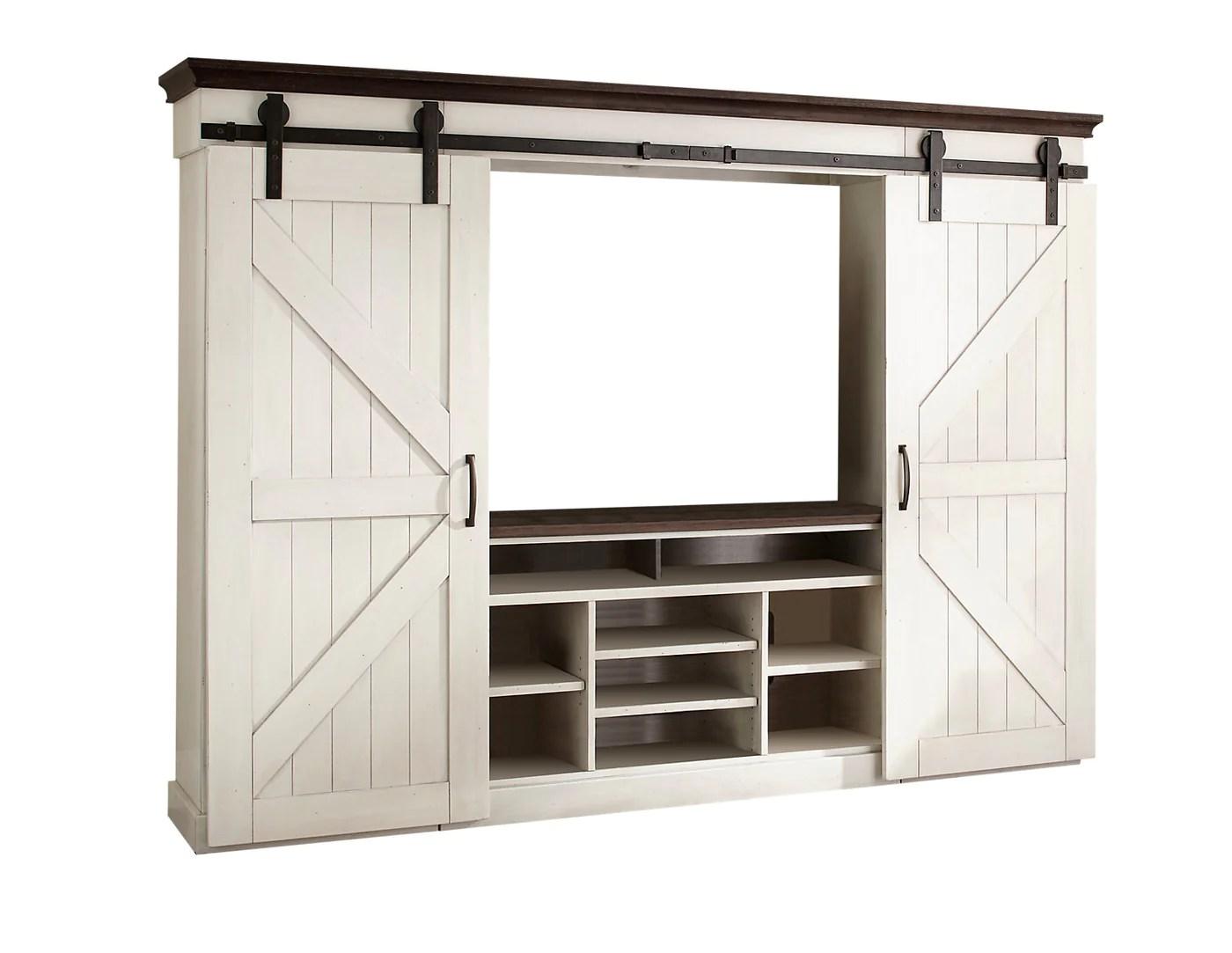 meuble audio video sydney 6 pieces avec portes de grange et ouverture pour televiseur de 55 po