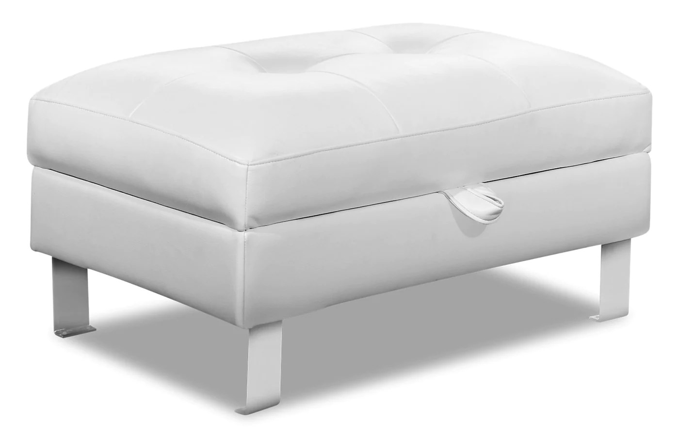 theo leather look fabric storage ottoman white