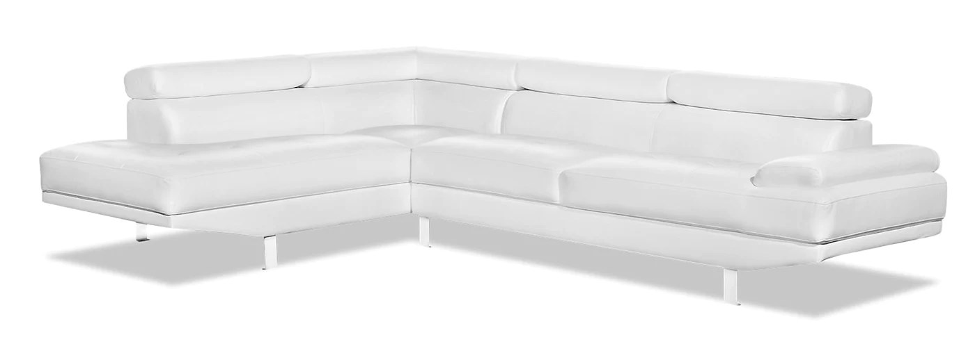 theo 2 piece leather look fabric left facing sectional white