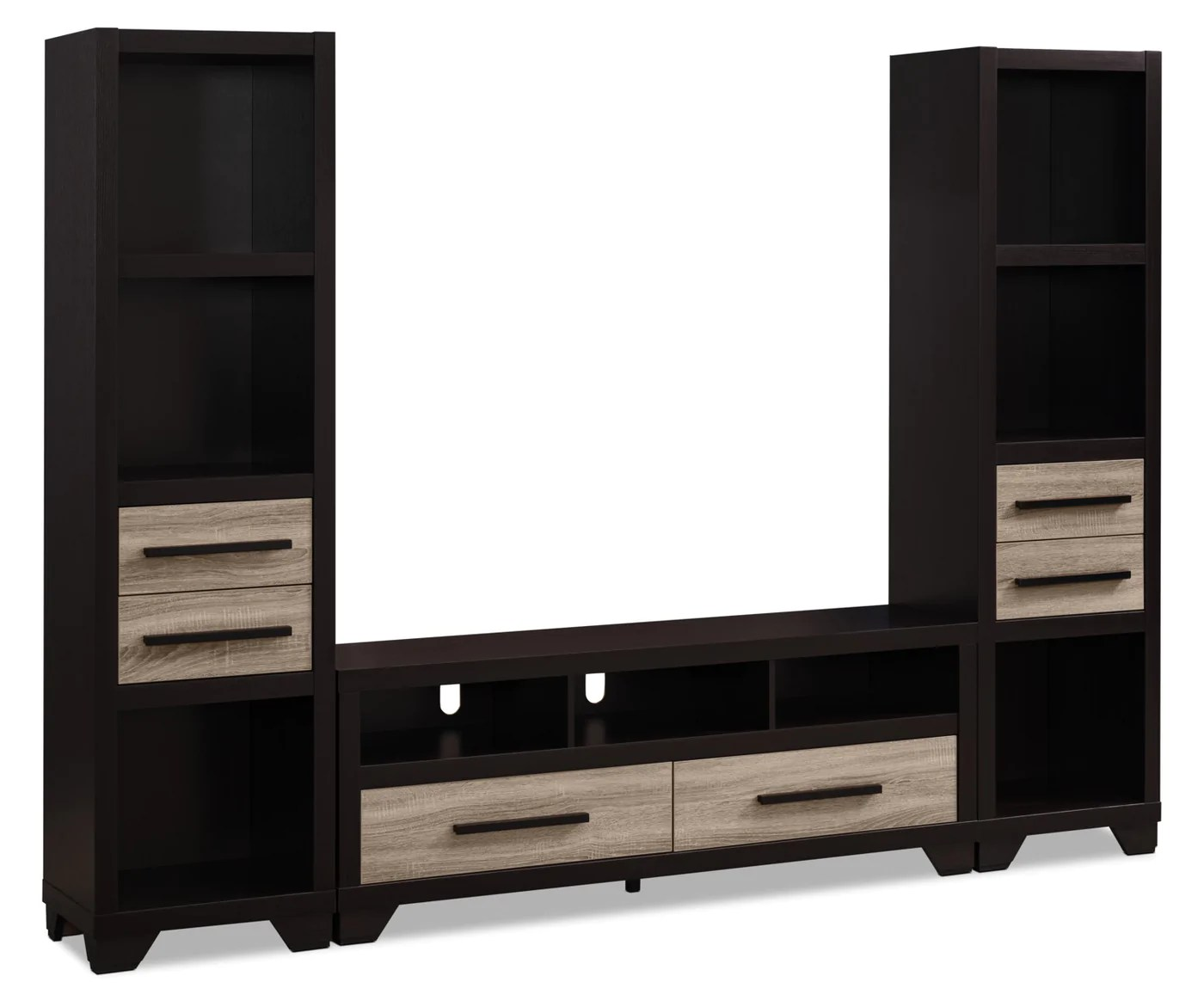 glendale 3 piece entertainment centre with 60 tv opening rustic