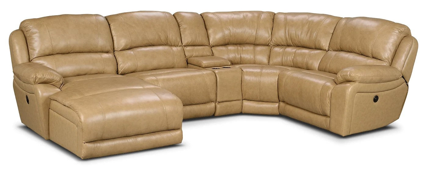 marco 5 piece genuine leather left facing power reclining sectional with inclining chaise toffee