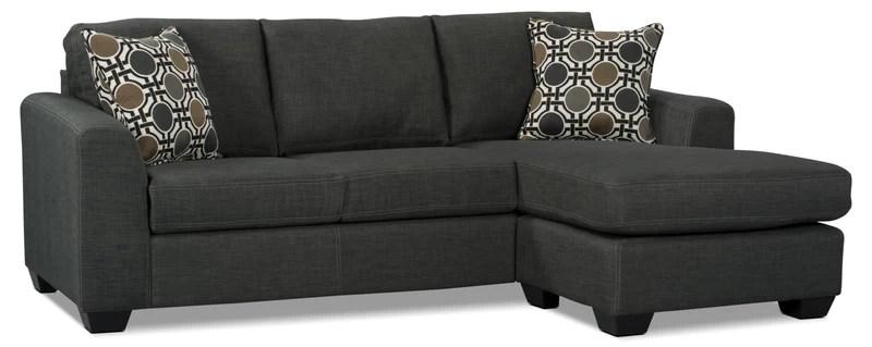 nina 2 piece linen look fabric sectional grey sofa sectionnel nina 2
