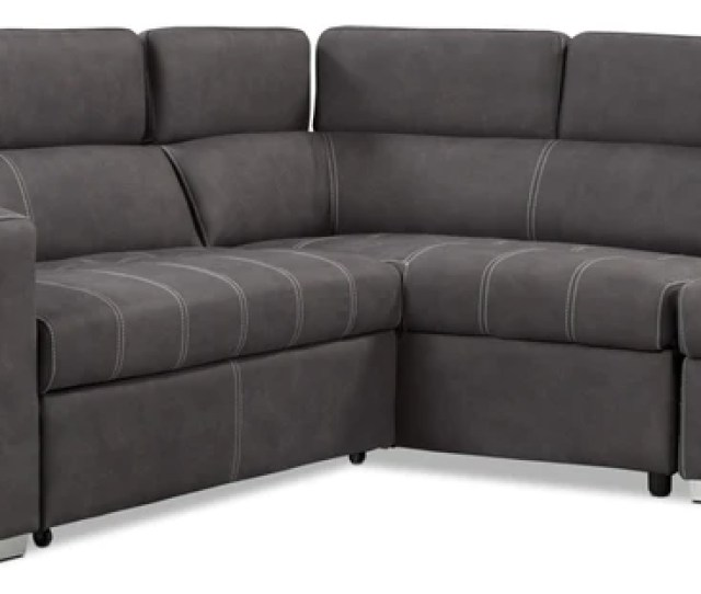Drake 3 Piece Faux Suede Right Facing Sleeper Sectional Cementsofa Sectionnel