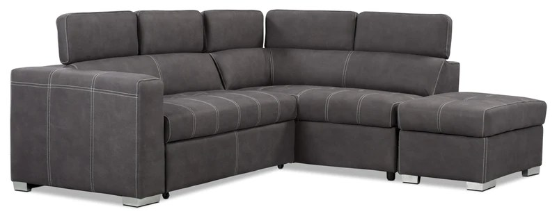 drake 3 piece faux suede right facing sleeper sectional cement sofa sectionnel