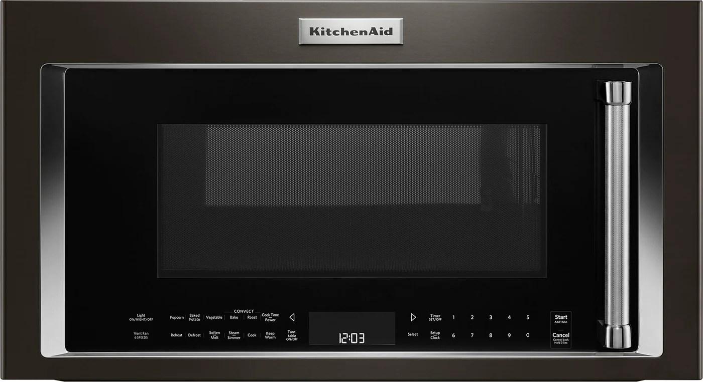 kitchenaid 1 9 cu ft 1 000 w convection microwave hood combination ykmhc319ebs