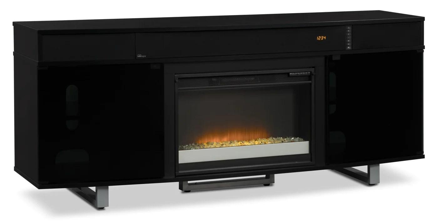 meuble pour televiseur odesos de 72 po avec foyer a braises en verre et barre de son noir