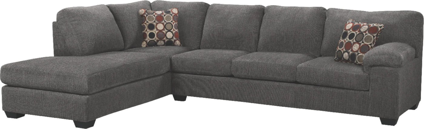 morty 2 piece chenille left facing sectional grey