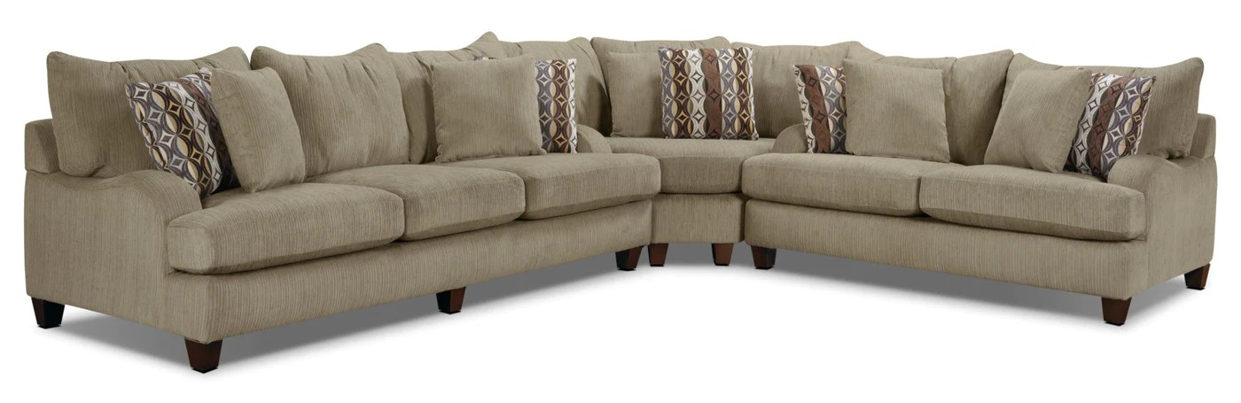 putty 3 piece chenille sectional beige