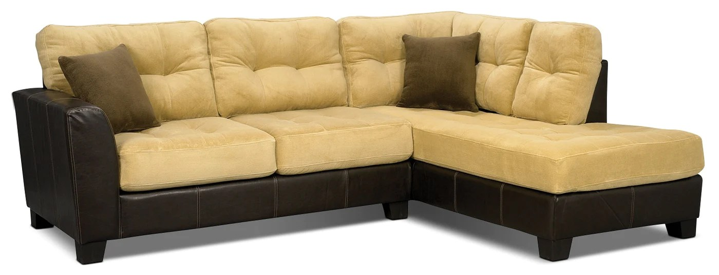 bella 2 piece microsuede right facing sectional two tone brown