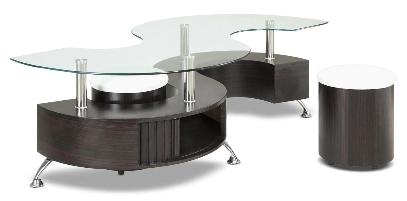 seradala coffee table with two ottomans