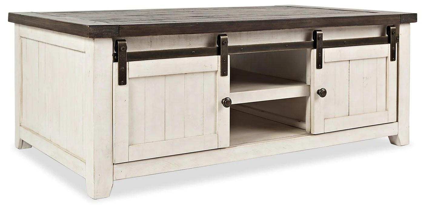 ahna barn door coffee table white
