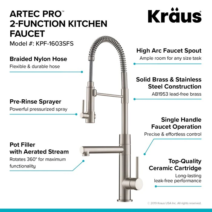 kraus artec pro commercial style pre rinse kitchen faucet in spot free stainless steel