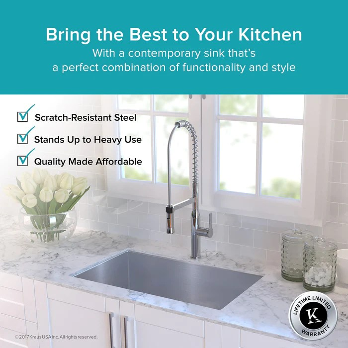 kraus khu100 30 30 inch undermount single bowl 16 gauge stainless steel kitchen sink with noisedefend soundproofing
